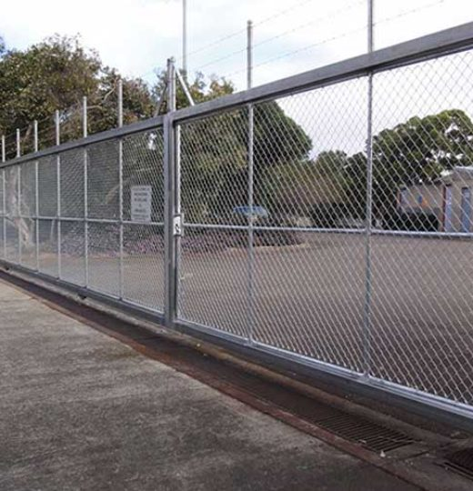 """Construct New 7′ High Chain Link Fence with Three Strand Barbed Wire Provide Prefabricated Pedestrian Gate, Vehicle Gate"""